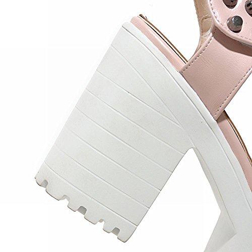 Mee Shoes Damen Blockabsatz Klettband Plateau Sandalen Pink