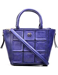 Hopping Street Stylish Elegance Fashion Blue Color Faux Leather Handbag for Women