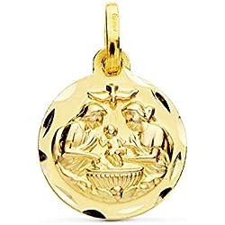 Medalla Bautismo Cristiano Oro 18k 14mm. Medalla Bebé/Bautizo