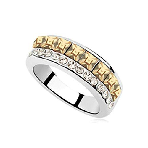 AieniD Anelli Donna Matrimonio Placcato Oro Piazza Principessa Cut Zirconia Cubica Fidanzamento Anelli per Donne Misura