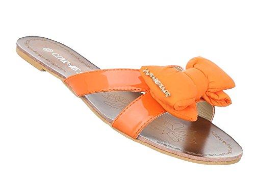 Damen Sandalen Schuhe Strandschuhe Sommerschuhe Pantoletten Orange