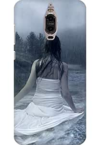 AMEZ designer printed 3d premium high quality back case cover for Huawei Mate 9 Pro (Cute Girl in Rain)