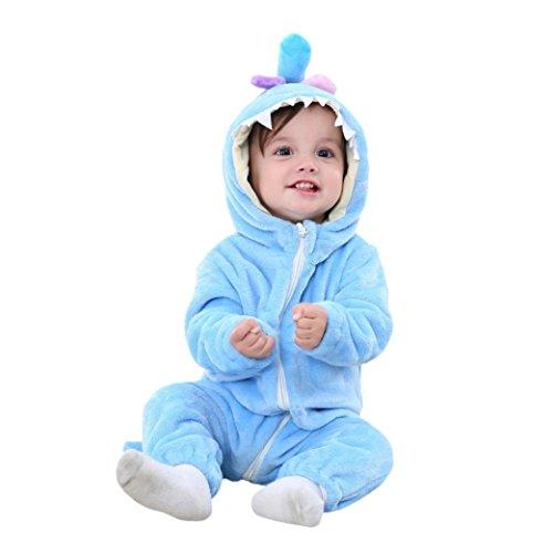 Huihong Baby Mädchen und Jungen Winter Flanell Strampler Overall Outfits Anzug Karikatur Tier Schneeanzug Jumpsuit Spielanzug (Size:90CM, Blaues (Spieler Kostüm Frauen)