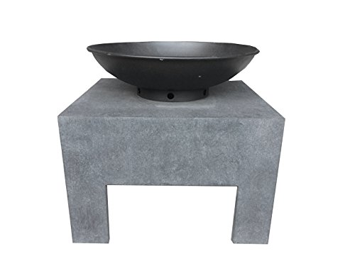 Charles Bentley Garden Metal Fire Bowl With Square Stand Outdoor Heating Enamel Treated