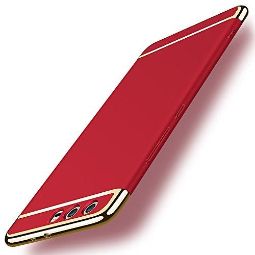 Coque Huawei P10 Plus 5,5 pouces, MSVII® 3-in-1 Design PC Coque Etui Housse Case et Protecteur écran Pour Huawei P10 Plus 5,5 pouces - Or rose JY50027 Rouge