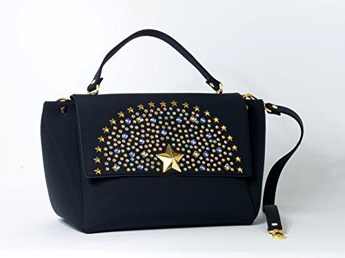 borsa a mano, un manico,Edith, La Fille Des Fleurs,in neoprene,nera,con tracolla, con patta decorata di strass 31x26x20