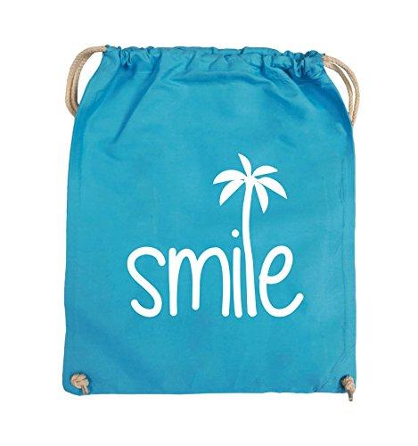Comedy Bags - smile - PALME - Turnbeutel - 37x46cm - Farbe: Schwarz / Pink Hellblau / Weiss