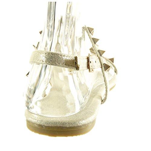 Angkorly Chaussure Mode Sandale Salomés Femme Clouté Boucle Doré Talon Plat 1 cm Or