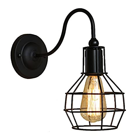 Retro Grapefruit-shaped Wall Lamp SYAODU Metal Cage Lightshade Curve Lamp