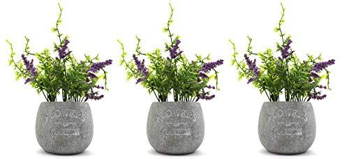 DARO DEKO Kunst-Pflanze Lavendel mit Stein-Topf Ø 16 cm x 22cm 3 Stück