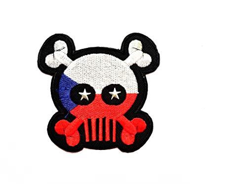 Skull X Patch Totenkopf Kreuz Tschechische Republik Flagge Patch Weste/Jacke Biker Motorrad Rider Biker Tattoo Jacke T-Shirt Aufnäher Aufbügler Aufbügler Badge -