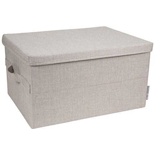 Decke Box (Bigso Box of Sweden große Aufbewahrungsbox mit Deckel und Griff - Schrankbox aus Polyester und Karton in Leinenoptik - Faltbox für Kleidung, Decken, Spielzeug usw. - beige)