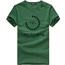 DOLDOA Unisex Tops I'm Thinking Letters Printing Womens Mens Casual Fashion Tees Shirt Short Sleeve O Neck T Shirt Blouse,S-3XL(Green,X-Large)