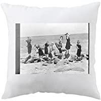 Pillow with Group posing in beach