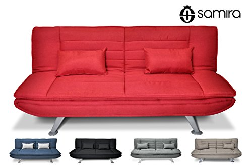 Divano letto clic clac in tessuto rosso - divano 3 posti mod. iris con cuscini