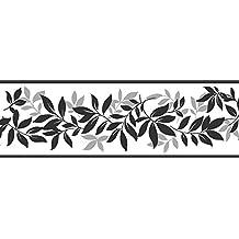 fine decor cenefa para pared mm color negro y plateado