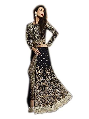 Shoppingover Indian Party Wear Salwar Kameez in Georgette Fabric-Black Color
