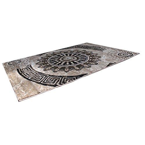VIMODA tibet6447Alfombra Klassisch estampado circular, Dich tejida, jaspeado adornos, diseño Top calidad, Marrón/Beige/Negro, multicolor, 120 x 170 cm