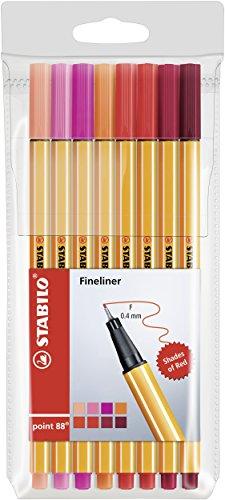 Fineliner - STABILO point 88 - 8er Etui - Rottöne