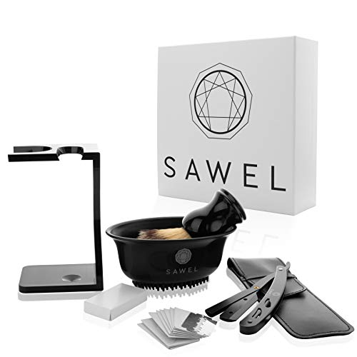 Sawel Rasiermesser - Rasiermesser mit praktischer Wechselklinge - Rasiermesser Set für Herren - Shavette - Bartpflege