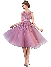 Babyonlinedress Vestido para fiesta de noche para boda estilo ajustado y elegante escote redondo sin mangas espalda de cierre transparente