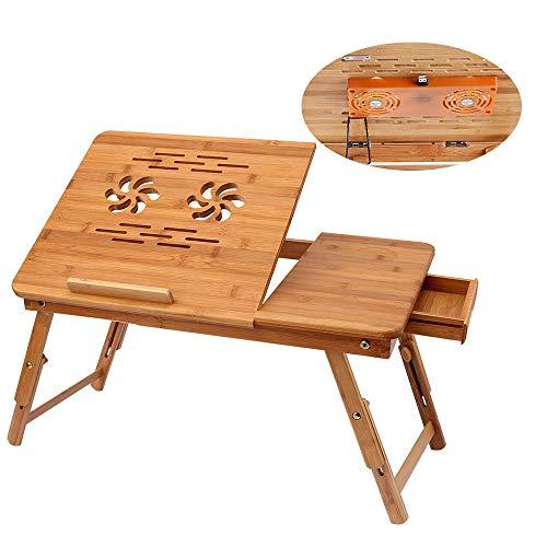 GNSDA Lap Schreibtisch Klapptisch, Bambus Laptop Schreibtisch, mit USB-Fan, einstellbare tragbare Frühstück Servieren Bett Tablett, mit Kippen Top Schublade zum Surfen lesen Schreiben Essen -