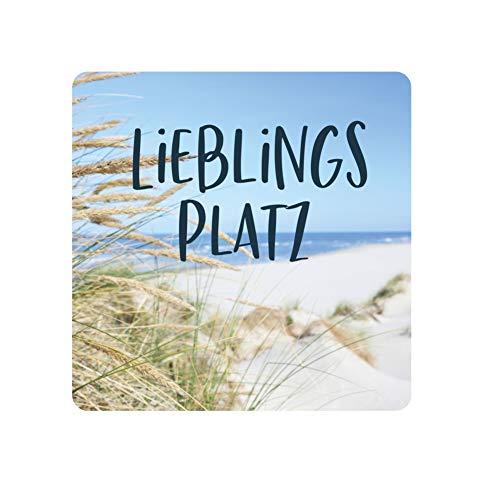 KT-Schmuckdesign Untersetzer aus Holz mit Strand Foto-Motiv und Schriftzug Lieblingsplatz, Moderne Untersetzer für Gläser, Maße - 8,7 x 8,7 cm, 5 mm dick
