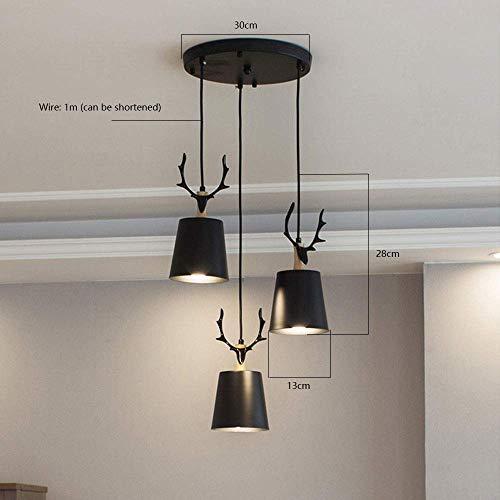MU Dekorative Kronleuchter-Pendelleuchte, Moderne einfache abgehängte 3 LED-Lampen inklusive Hängeleuchte E27 Lampe mit Holz und Metall für Restaurant Licht Wohnzimmer Kaffee Hängeleuchte Pendelleuch -