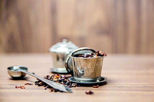 meitea - Tee-Ei Edelstahl Teefilter (2er Set) mit Abtropfschale und Teelöffel - hochwertiges Teesieb & Teekugel - 4
