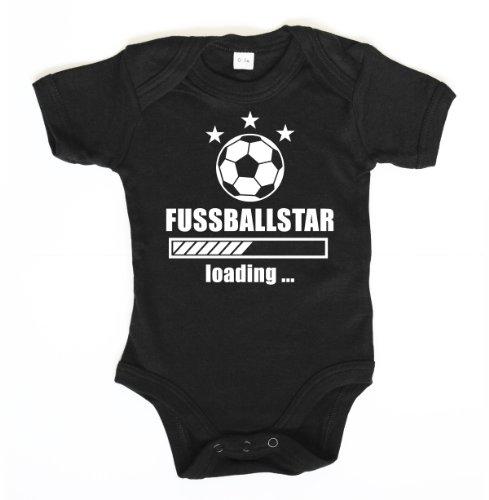 ::: FUSSBALLSTAR ::: Baby Body, Schwarz mit Weiß, Größe 6-12 Monate