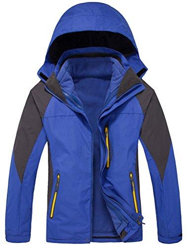 MatchLife Unisex Couple WindProof Jacket Mountain Hiking Sports Hoodie Mantel Royal Blau-Herren