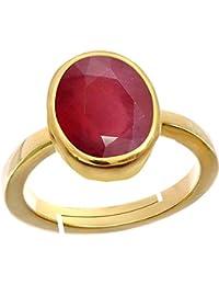 Ruby/ Manik{Manak/Mankya} 10.2cts Or 11.25ratti Stone Panchdhatu Adjustable Ring For Men By AKSHAY GEMS