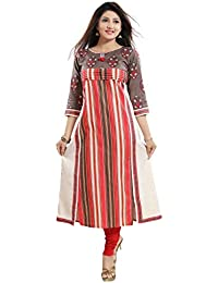 7fdd9a8b6ee PLUS SIZE LONG ANARKALI ORANGE   GREY PRINTED FRONT CUT STYLE COTTON KURTI