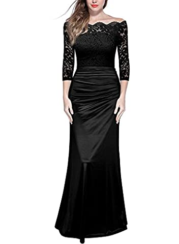MIUSOL Women's Formal Evening Maxi 3/4 Sleeve Lace Dress,Off Shoulder Ball Gown Wedding Dresses for