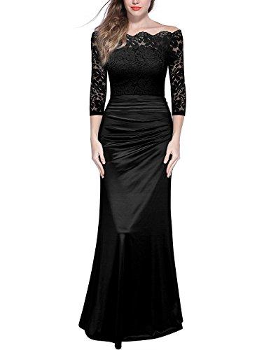 Miusol Damen Elegant Cocktailkleid Spitzen Vintage Kleid Off Schulter Brautjungfer Langes Abendkleid...