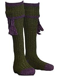 Walker & Hawkes Kyle–Calcetines para Hombre, con Cintas Decorativas passenden–Adecuado para la Caza–Amarillo ginster/Pino Verde