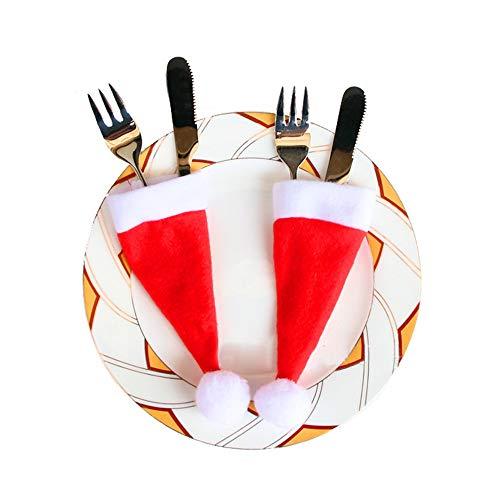 ODJOY-FAN 10PCS Weihnachten Kappen Besteck Halter Gabel Löffel Tasche Weihnachten Dekor Tasche Weihnachten Mini Klein Hut Messer Kreuz Tasche Christmas Decor Bag (Rot,10 PC)