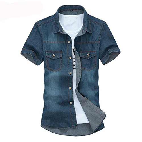 Men's High Quality Turn Down Collar Solid Short Sleeve Casual Shirts Light Blue
