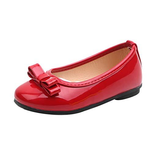 SEWORLD Kinder Krabbelschuhe Lauflernschuhe Hausschuhe Solide Leder Single Princess Schuhe Sandalen Turnschuhe Baby Segeltuchschuhe Weiche Babyschuhe Säuglingskleinkind(Rot,24 EU) -