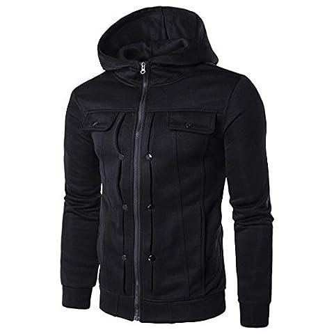KEERADS Herren Jacke, Baumwolle mit reißverschluss, 5 Farbe,Größe S M L XL XXL (M, Schwarz