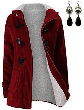 [Patrocinado]M-Queen Mujer Sudaderas con capucha con Horn botones Abrigo Chaqueta Hoodie Pullover Sweater Suéter Suelta Invierno