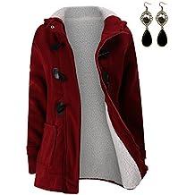 M-Queen Mujer Sudaderas con capucha con Horn botones Abrigo Chaqueta Hoodie Pullover Sweater Suéter Suelta Invierno