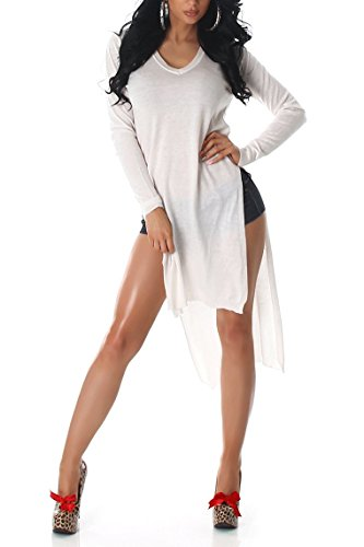 Maille Pull Pull Long Pull manches longues Tunique col V couleur neuf 363840 white