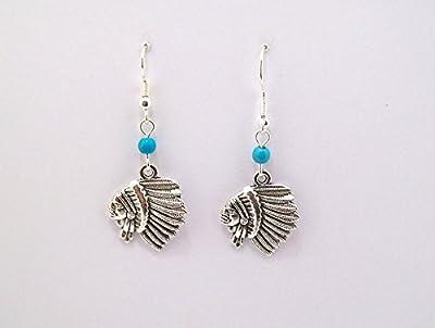 Boucles d'oreilles, tête d'indien, perles bleu, style amérindien, ethnique, bohème