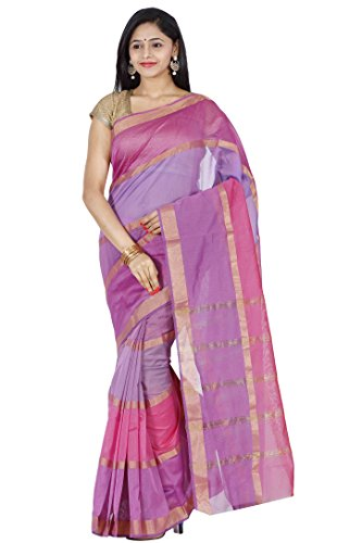 AJ-FASHIONS-Womens-Handloom-Pink-Cotton-Silk-Saree-with-BlouseMulti-color