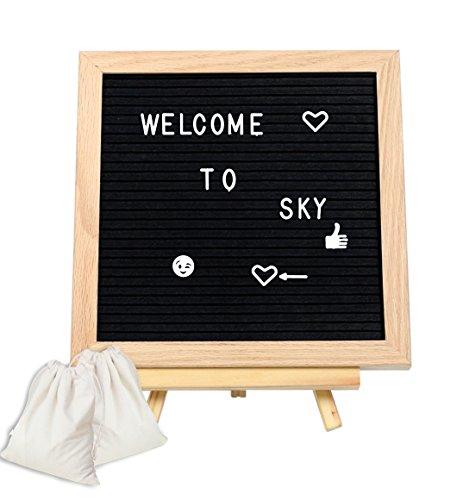 Holz-buchstaben 12 Zoll (austauschbarer Filz Buchstabe Board schwarz mit 580Kunststoff Buchstaben Eiche Rahmen Stativ aus Holz für Romance Botschaft in Haus Büro Bar Party, 12 x 12 Inch)