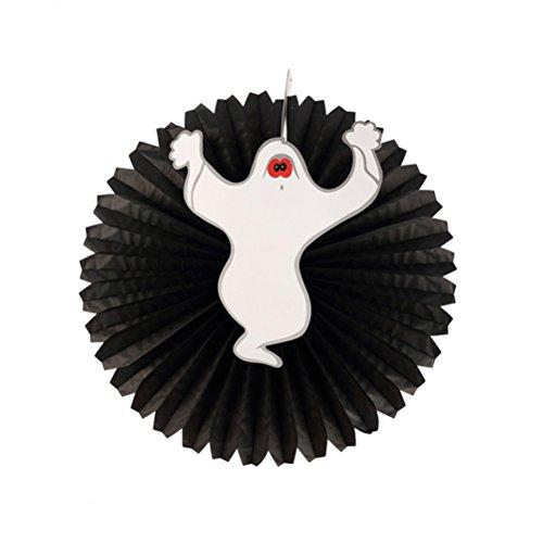 (BESTOYARD 1 PC Hallowen Ghost Hängendes Papier Hübsch und Spaß Hängende Runde Mini Pastell Fan Party Dekoration)