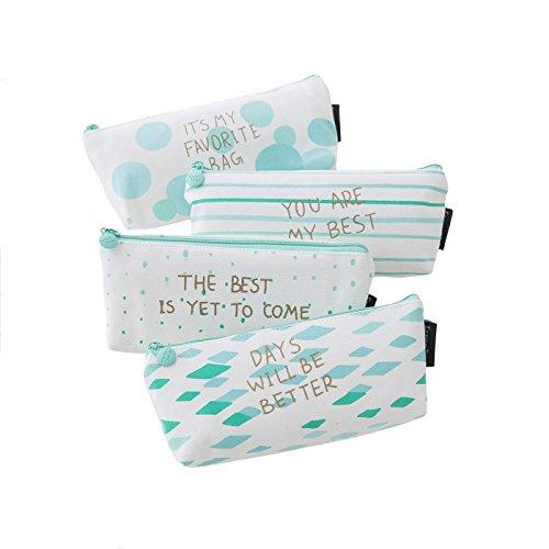 Boomly 4 Pack Mädchen Schüler Mäppchen Canas Federmäppchen Briefpapier Box Reißverschluss Trapezförmiges Design Streifen Bleistift Box Stiftetasche
