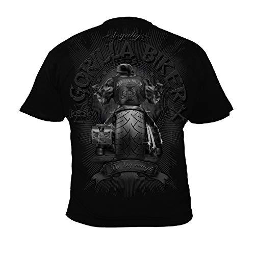 Silberrücken GB40 - Camiseta de Motero para Hombre, diseño de Gorila en Moto Grande - Medium - Negro