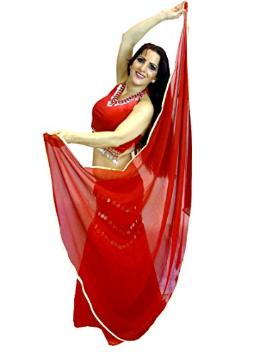 Dancers World Silver Trimmed SEMI Circle Veils Belly Dance Costume Veil Wrap Scarf (Red)